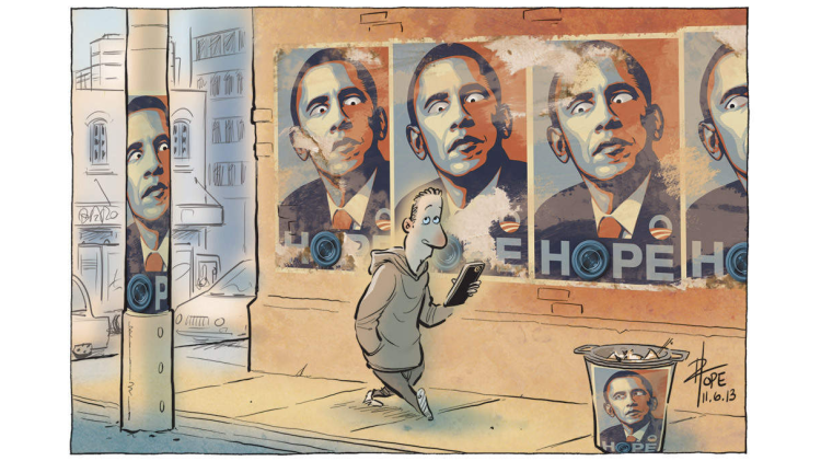 »The Surveillance State«, published in The Canberra Times, 11 June 2013    © 2013 David Pope, www.scratch.com.au